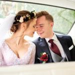 burgundowe kwiaty na ślub